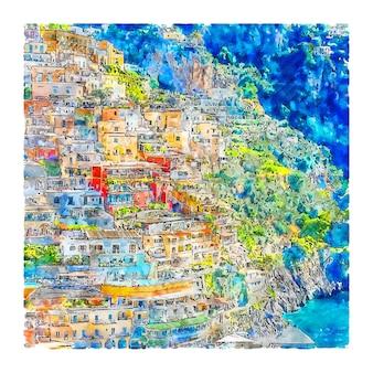 Позитано амальфитанское побережье италия акварельный эскиз рисованной иллюстрации