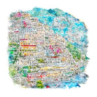Позитано италия акварельный эскиз рисованной иллюстрации