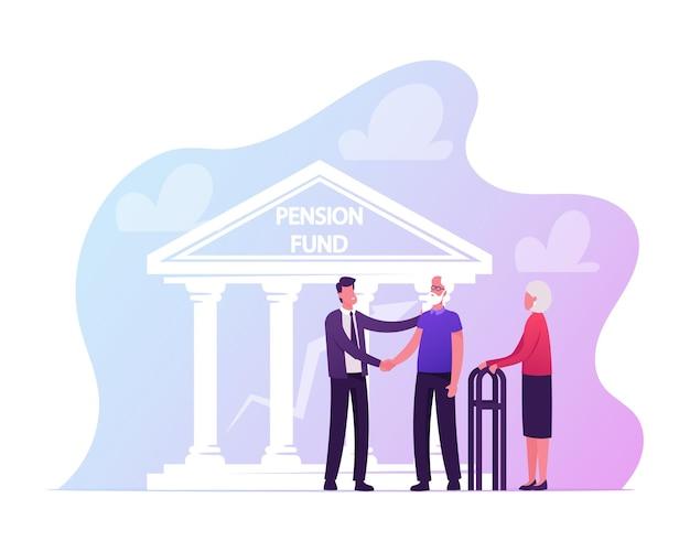 Позитивная пожилая пара консультируется с персонажем страхового агента, который пожимает руку старшему мужчине