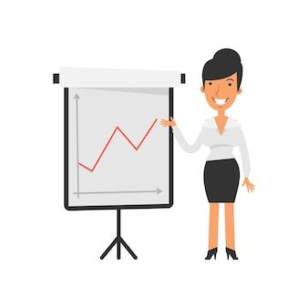 긍정적인 비즈니스 그래프입니다. 사업가 행복 하 고 웃 고입니다. 벡터 문자입니다. 벡터 일러스트 레이 션