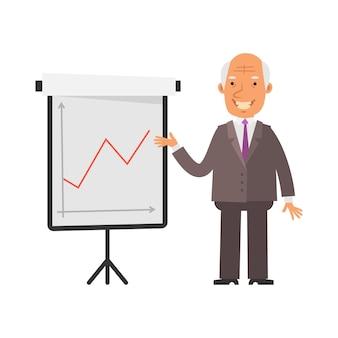 긍정적인 비즈니스 그래프입니다. 오래 된 사업가 행복 하 고 웃 고입니다. 벡터 문자입니다. 벡터 일러스트 레이 션