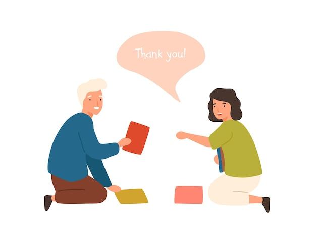 ポジティブな漫画の老人は、落ちた本のベクトルフラットイラストを収集するために笑顔の女性を助けます。白い背景で隔離の良いマナーを示す幸せな男性。女性の話を手伝ってくれてありがとう。