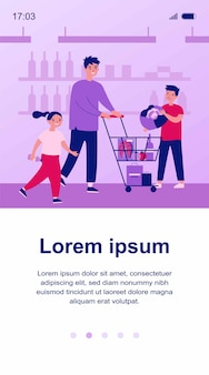Positive dad buying food in grocery store with children. choosing food, supermarket   illustration. family, togetherness, shopping concept for banner, website  or landing web page