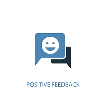 Positive feedback concept 2 colored icon. simple blue element illustration. positive feedback concept symbol design. can be used for web and mobile ui/ux