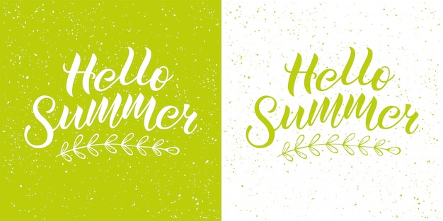 Positive inspirational handwritten phrase hello summer on green