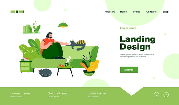 Positive lady sitting on cozy sofa with cats landing page in flat style