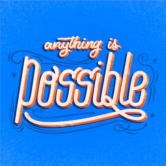 Positive lettering in retro style