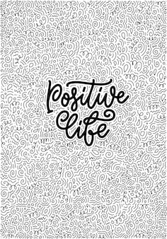 Positive lettering slogan with doodle elements funny quote for blog poster