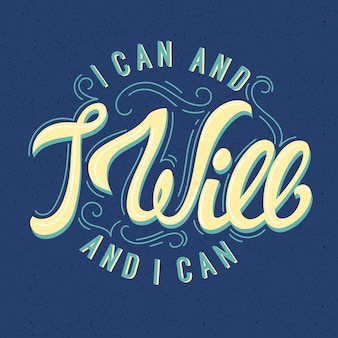 Positive lettering in vintage style