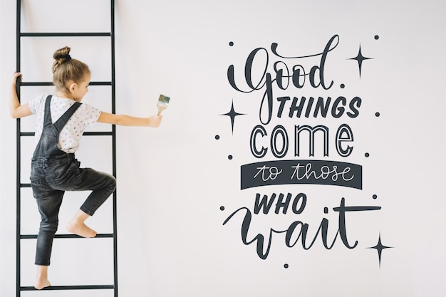 Positive lettering with motivational quote