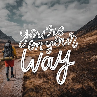 Positive lettering with photo concept