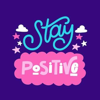 Positive mind lettering design