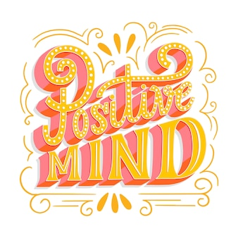 Positive mind lettering illustration