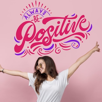 positive mind lettering with photo