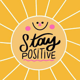 Positive mind lettering with smiley sun