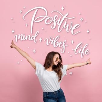 사진과 함께 긍정적 인 마음 인쇄술