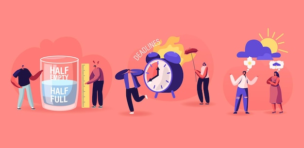 Positive and negative thinking pessimist and optimist people concept. men stand at huge half full or empty glass with water women discuss bad or good weather, deadline cartoon flat vector illustration