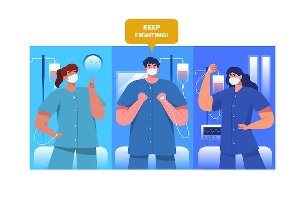 코로나 바이러스와 싸우는 긍정적 인 환자