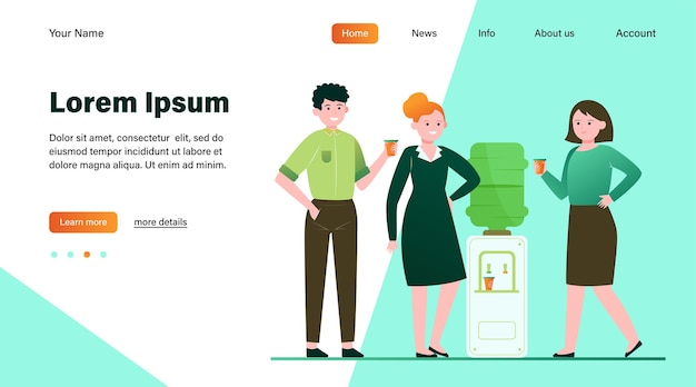 Positive people drinking water at cooler. office colleagues, chatting, break flat vector illustration. beverage, refreshment, watercooler concept website design or landing web page