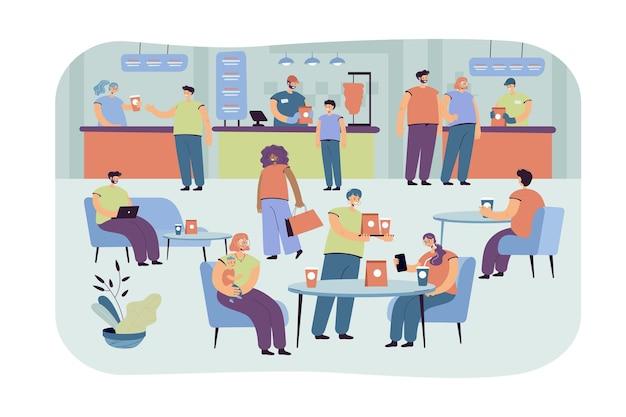 카페에서 먹는 긍정적 인 사람들은 평면 그림을 격리합니다. 푸드 코트에서 점심을 먹고 만화 캐릭터
