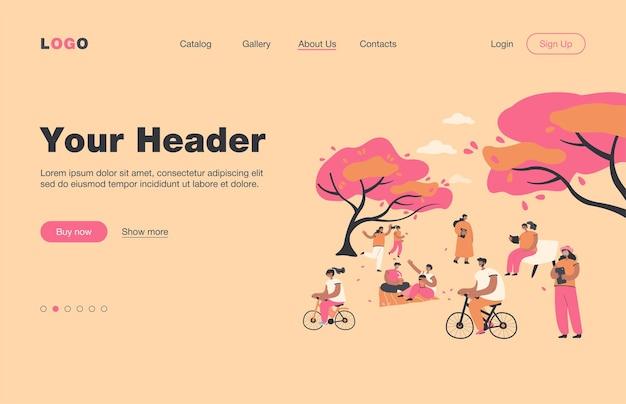 벚꽃 나무와 도시 공원에 앉아 긍정적 인 사람들은 평면 방문 페이지를 격리합니다. 하나미 축제에 야외에서 휴식하는 만화 캐릭터. 여름 활동 및 자연 개념