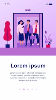 Положительные люди, стоящие на кабине лифта. мужчины и женщины, стоящие внутри кабины лифта с открытыми дверями. иллюстрация для архитектуры, транспорта, технологической концепции