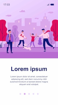 Positive people walking dogs in city park. annoyed person, public place, leash   illustration. animal care, pets, outdoor activity concept for banner, website  or landing web page