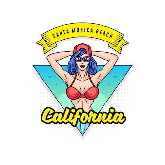Positive pop art style girl or woman on beach
