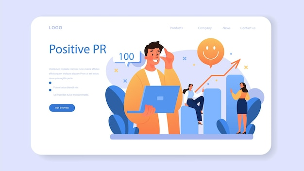 Positive public relations web banner or landing page. successful brand advertising, building relationships with customer. maintenance of the brand reputation. flat vector illustration
