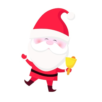 Positive santa ringing bell and waving hand