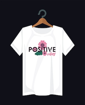 Positive shirt print wear with flowers in clothespin illustration design