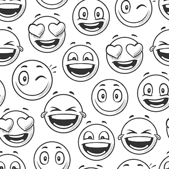 Positive smiling faces background, emoticons sketch line vector seamless pattern