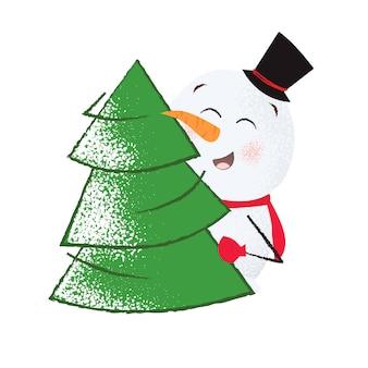 Положительный снеговик в цилиндре обнимает елку