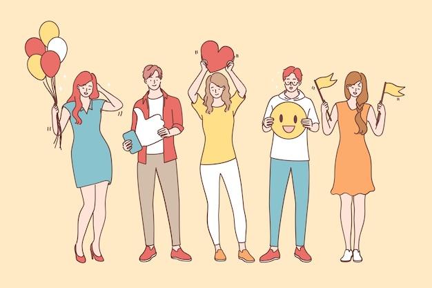 긍정적 인 사고와 감정 개념. 웃는 행복 한 젊은 사람들이 만화 캐릭터 서