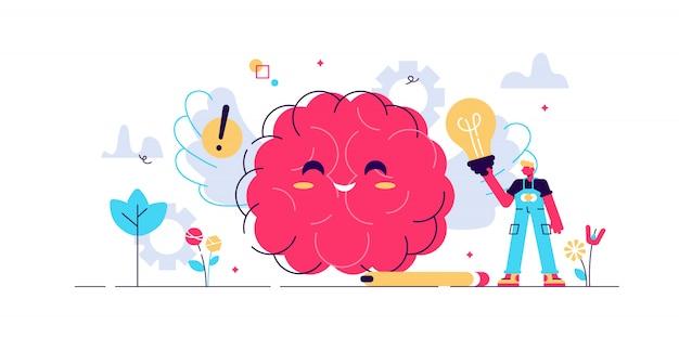 긍정적 인 생각의 그림입니다. 작은 낙관적 인 사람 개념. 건강 개선에 대한 행복한 사고력. 성공을위한 상징적 창의적 전략, 느낌과 꿈의 통제 전략을 즐기십시오