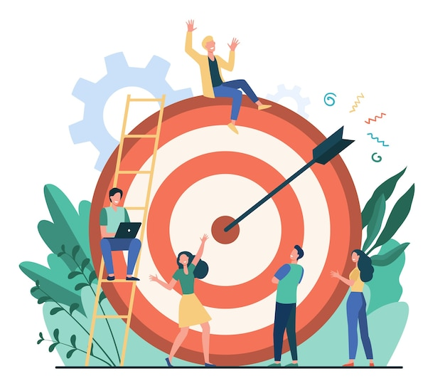Positive tiny people sitting and walking near huge target with arrow isolated flat vector illustration. cartoon business team achieving goal or aim. marketing strategy and achievement concept