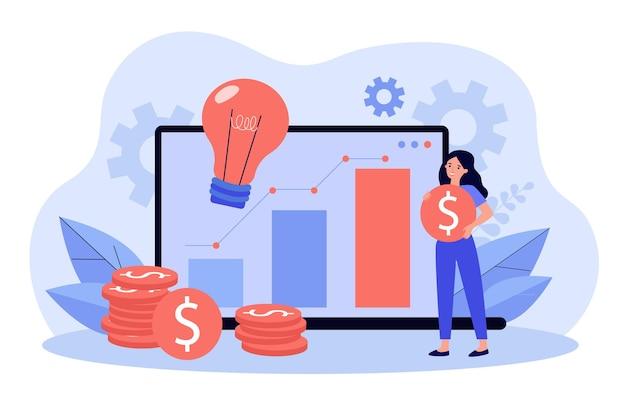ノートパソコンを介してオンラインでスタートアップに投資するポジティブな小さな女性