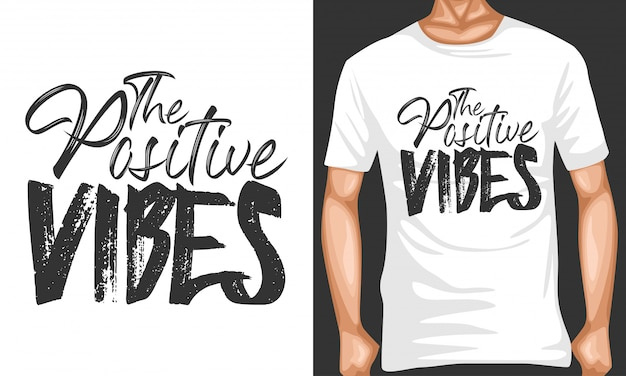 Positive vibes lettering typography quotes
