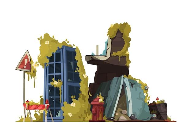 Concetto di design post apocalisse con relitto di edificio e recinzione con segnale di pericolo vicino cartone animato sopravvissuto alla cabina telefonica