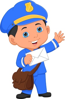 Post boy posing and holding envelope