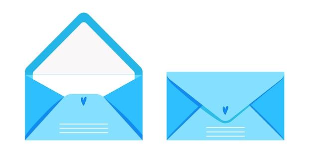 Набор открыток и конвертов, иллюстрация почтовых писем с почтовыми марками, милая синяя коллекция