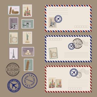 はがきと封筒のセットです。ヴィンテージはがきのデザイン、封筒、切手。リアルな古いポストカード。