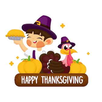 Post card design concept with thanksgiving illustration
