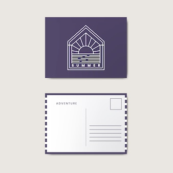 Post card design template mockup
