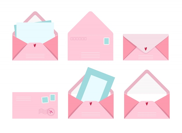 Post card and envelope set, illustration postal letters with greeting card and post stamps, cute pink collection of love and friendship letter designs