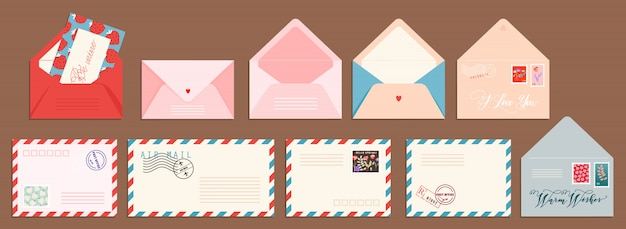 Post card and envelope set. isolated hand-drawn postal cards and envelopes with post stamps. modern collection of love and friendship letter designs. illustrations for web and print.