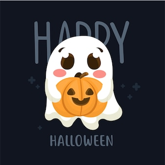 Post card halloween design with cute ghost hold pumpkin in cartoon style