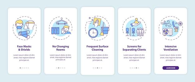 개념이있는 모바일 앱 페이지 화면 온 보딩 후 코로나 바이러스 미용실 안전 규칙. 마스크, 표면 청소 연습 5 단계 그래픽 지침. rgb 색상 삽화가있는 ui 템플릿