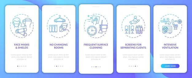 개념이있는 모바일 앱 페이지 화면 온 보딩 후 코로나 바이러스 미용실 안전 규칙. 스크린, 환기 연습 5 단계. rgb 색상의 ui 템플릿