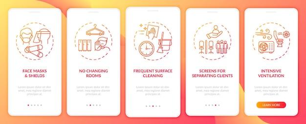 개념이있는 모바일 앱 페이지 화면을 온 보딩하는 covid 재개 안전 규칙. 방패, 청소 연습 단계. rgb 색상의 ui 템플릿